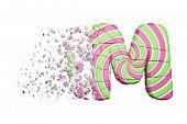 Broken Shattered Alphabet Letter M. Crushed Font Made Of Pink And Green Striped Lollipop. 3d Render  poster