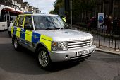 EDINBURGH, SCOTLAND, UK - SEPTEMBER 16: Police Range Rover from Pope escort on Princes Street , Sept