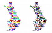 Sketch Finland Letter Text Map, Republic Of Finland - In The Shape Of The Continent, Map Finland - C poster
