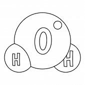 Water Molecule Icon. Outline Illustration Of Water Molecule Icon For Web poster