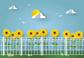 Grating Wire Industrial Fence Panels, Pvc Metal Fence Panel In Front Of Sunflowers poster