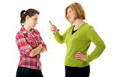 stock photo of delinquency  - mother warn her daughter for bad behavior - JPG