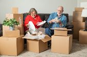 Senior Adult Couple Packing or Unpacking Moving Boxes. poster