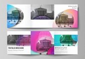 The Minimal Vector Editable Layout Of Two Square Format Covers Design Templates For Trifold Square B poster