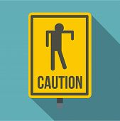 Yellow Caution Zombie Sign Icon. Flat Illustration Of Yellow Caution Zombie Sign Icon For Web Isolat poster