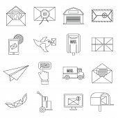Poste Service Icons Set. Flat Illustration Of 16 Poste Service Icons For Web poster