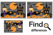 Find 10 Differences, Game For Children, Halloween Picture In Cartoon Style, Education Game For Kids, poster