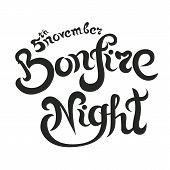 Bonfire Night Invitation Lettering Vector Illustration, Letters Composition poster