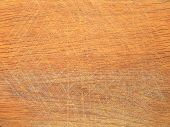 Old Brown Wooden Kitchen Cutting Board With A Lot Of Knife Blade Marks After Cutting Food, Abstract  poster