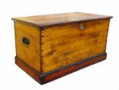 foto of dowry  - Antique wooden glory box with lock Isolated with clipping path - JPG