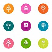 Sign Path Icons Set. Flat Set Of 9 Sign Path Vector Icons For Web Isolated On White Background poster