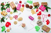 Christmas Background With Gifts, Cookies, Christmas Tree Branches And Christmas Balls. Christmas Dec poster