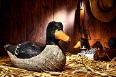 Antique Carved Wood Duck Decoy In Old Hunting Barn