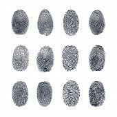 Fingerprint Vector Set. Abstract Fingerprint Vector Illustration poster