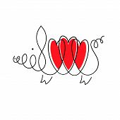 Pig Icon. Pig In A Linear Image With Three Hearts. Zodiac Sign For Year Of Pig. Vector Illustration  poster