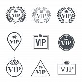 Vip Label Set. Symbol Of Exclusivity. Vip Icons With Crown, Frame And Laurel Wreath. Luxury Premium  poster