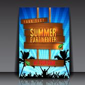 picture of summer beach  - Blue Summer Party Flyer Design  - JPG