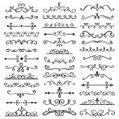 Decorative Swirls Dividers. Old Text Delimiter, Calligraphic Swirl Border Ornaments And Vintage Divi poster