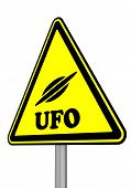 Ufo (unidentified Flying Object). Warning Sign With Flying Saucer Symbol And Word Ufo (unidentified  poster