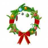 Christmas Wreath. Fir Evergreen Wreath With Bow, Ribbons, Holly Leaves Berries, Pine Cones, Baubles, poster