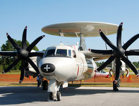 pic of awacs  - Front view of Navy reconnaissance plane parked at airport - JPG