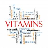 stock photo of enzyme  - Vitamins Word Cloud Concept with great terms such as intake immune dietary nutrition units antioxidants enzymes and more - JPG