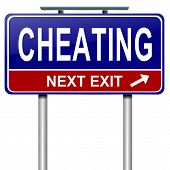 pic of cheater  - Illustration depicting a roadsign with a cheating concept - JPG