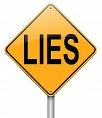 image of tell lies  - Illustration depicting a roadsign with a lies concept - JPG