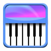 stock photo of jive  - Piano keyboard musical icon isolated over white background - JPG