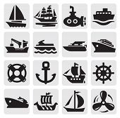 stock photo of passenger ship  - vector black boat and ship icons set - JPG