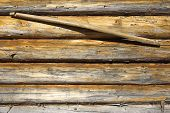 stock photo of yoke  - Fragment of wooden frame wall with a yoke - JPG