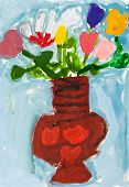 Child's Paiting - Flowers In Ceramic Vase