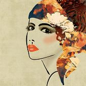 image of face painting  - art colorful sketching beautiful girl face on sepia  background - JPG