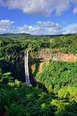 stock photo of chamarel  - Scenic Chamarel falls in jungle of Mauritius island - JPG