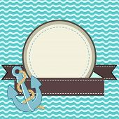 stock photo of navy anchor  - Nautical card with frame of the rope and anchor - JPG