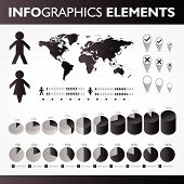 Black And White Infographics Set. Vector Icons.