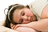 pic of have sweet dreams  - Closeup view of a young child sleeping and having pleasant dreams - JPG
