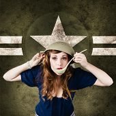 stock photo of military personnel  - Funny vintage portrait of a cute american army pin - JPG