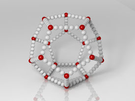 stock photo of dodecahedron  - 3d generated illustration of dodecahedron buildup with red and white balls - JPG