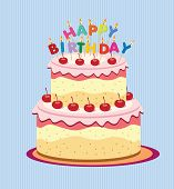 pic of fancy cake  - Vector happy birthday card - JPG