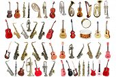 Musical instruments isolated under a white background