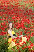 Smiling Girl In Poppy Field