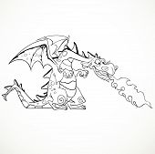 vector fabulous magical red fire-spitting dragon black outline f