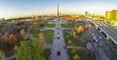 MOSCOW - OCT 19: View from unmanned quadrocopter to city panorama with Obelisk Conquerors of Space a