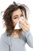 pic of snot  - Close up of a woman with flu and a handkerchief in the nose isolated on a white background - JPG