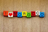 I Love Morocco, Africa, Sign Series for Countries and Travel