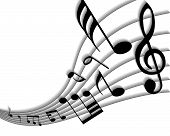 stock photo of musical symbol  - Vector musical notes staff background for design use - JPG