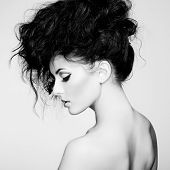 stock photo of human neck  - Black and white photo of beautiful woman with magnificent hair - JPG