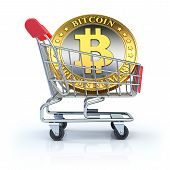 stock photo of bitcoin  - 3D concept with golden bitcoin in the shopping cart - JPG