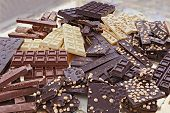 picture of hazelnut  - pile of assorted chocolate bars  - JPG